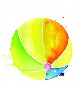 water color beach ball